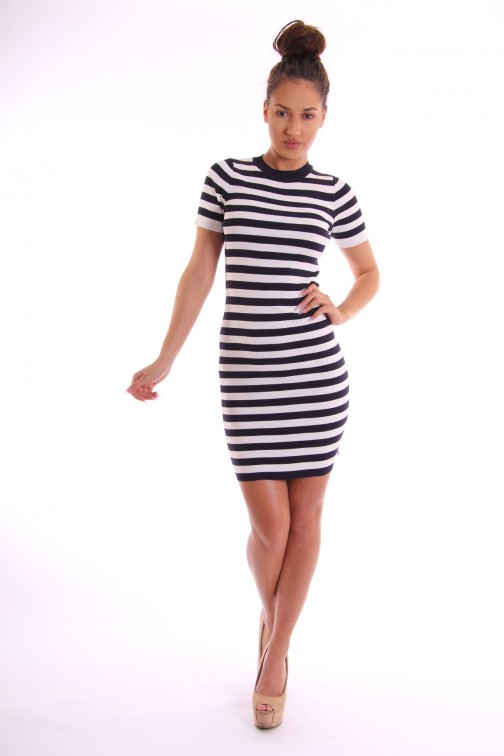 Jacky Luxury stripes jurk in navy-wit
