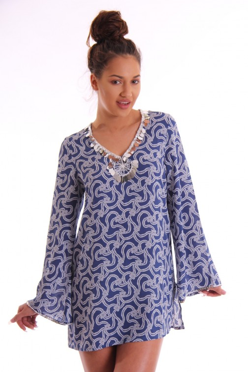Jacky Luxury tuniek jurk met pailletten in marine