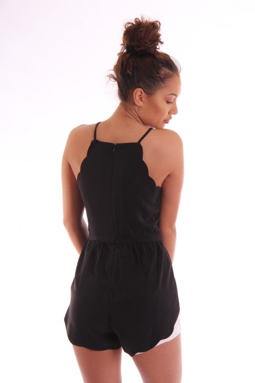 Jacky Luxury playsuit in zwart met schulprand