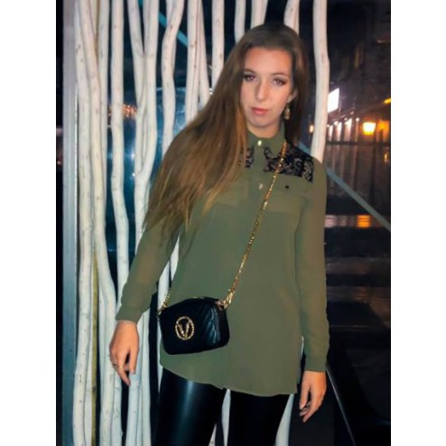 Fracomina blouse met kant in army.