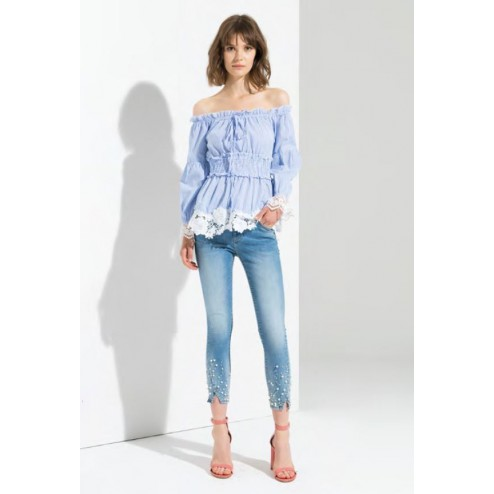 Fracomina FR19SPJBETTY5 pearly jeans.