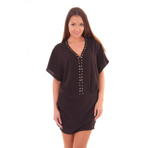 By Danie dress met studs in zwart