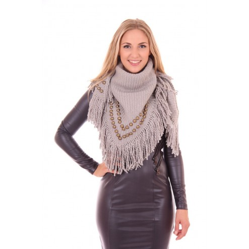 B.loved scarf studded in grey