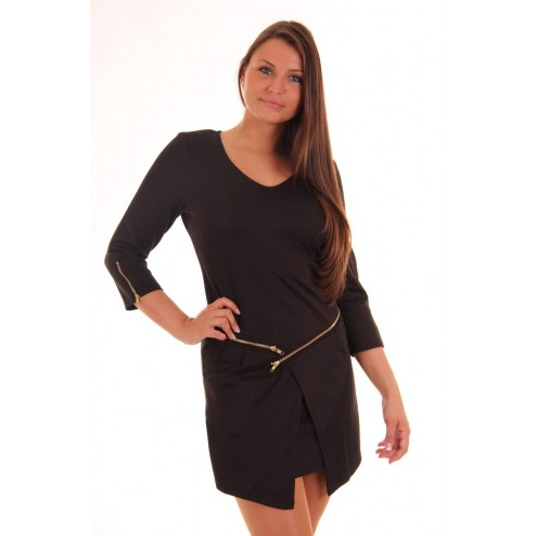 Jacky Luxury dress in black with zippers