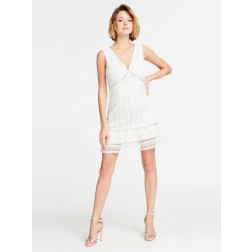 Guess embroidery dress in wit