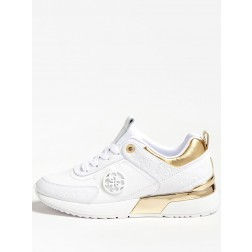 Guess Marlyn sneakers in white-gold