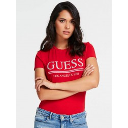 Guess T-shirt met glitter logo in rood