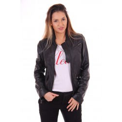 Nickelson jacket Kaia in black with leather details