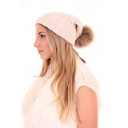 Hat by Goldbergh with fur in creme
