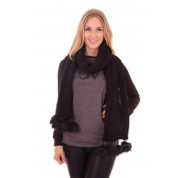 B.loved scarf with fur in black