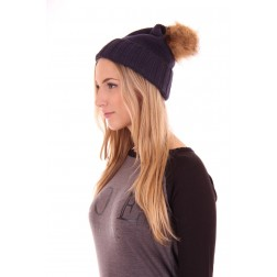 b.loved beanie with fur in navy
