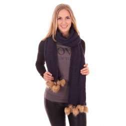 B.loved scarf with fur in navy