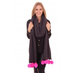 Grey scarf by B.loved with pink pompons