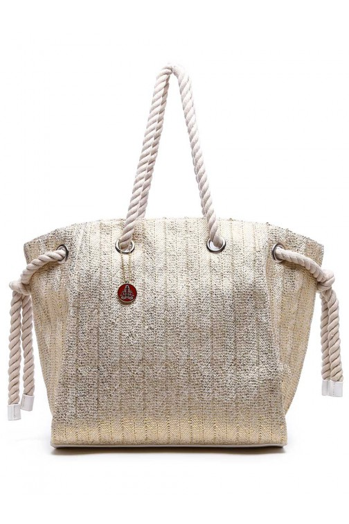 TRC Beachbag in goud met rose