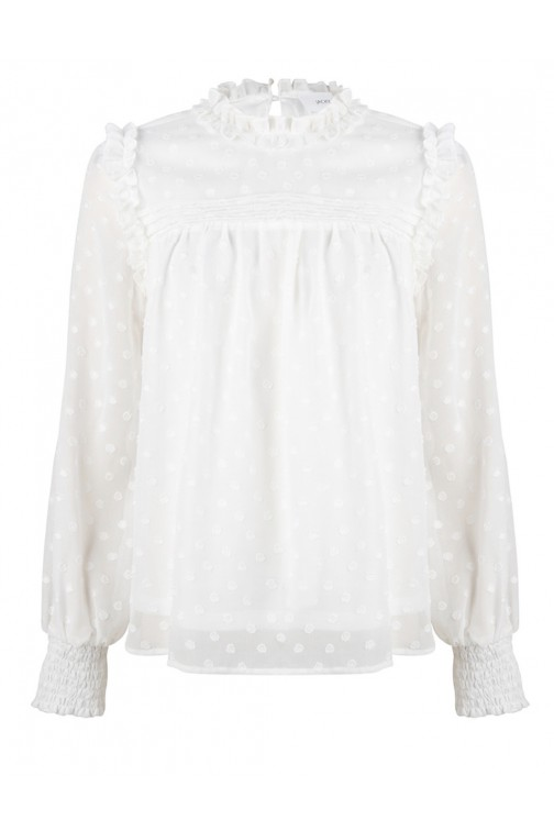 Jacky Luxury blouse met ruffle in white