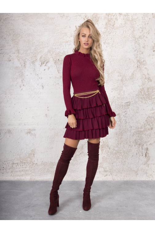 Kim Strijd Toby top in lurex - wine red