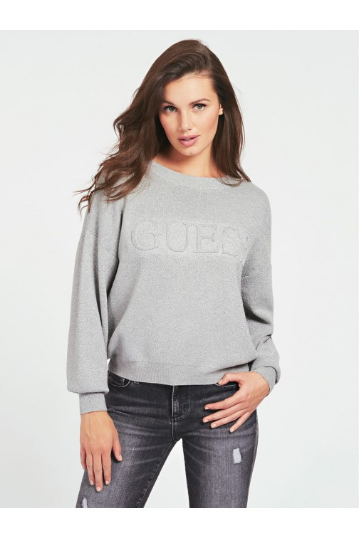 Guess Tara sweater in silver with logo print