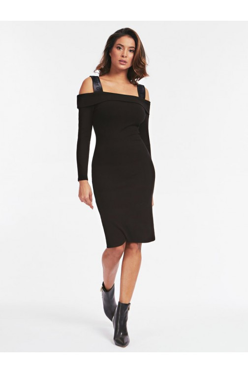 Guess Fabiana dress in zwart ribstof
