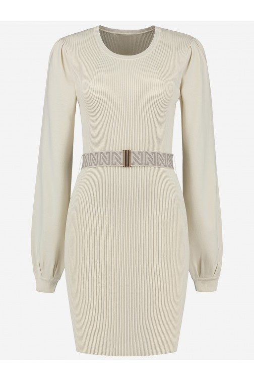 Nikkie Plum dress met riem in Cream