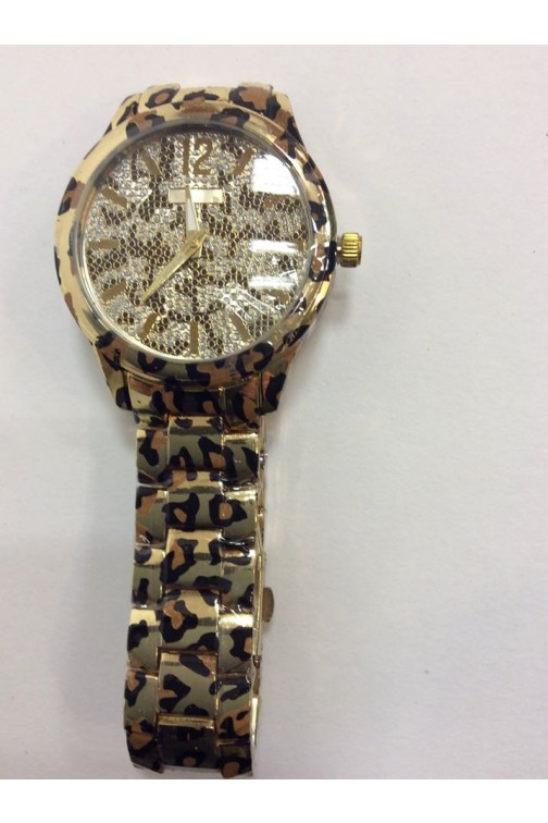 Giovanni horloge in gold en leopard