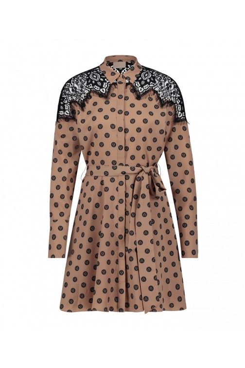 Josh V Ravina dress in praline - V-logo polka dots
