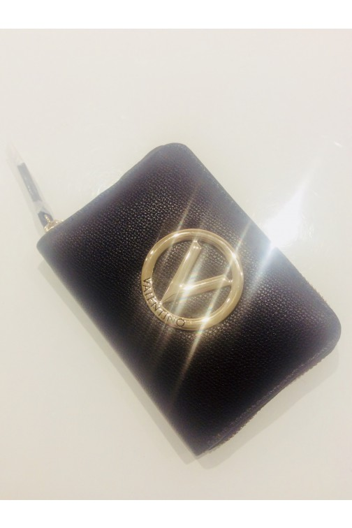 Valentino Sax wallet in coffee met V logo