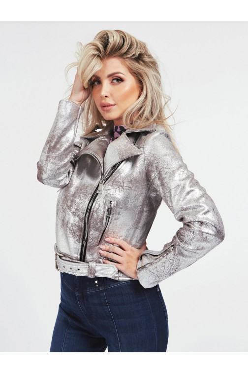 Guess Isar biker jacket in silver
