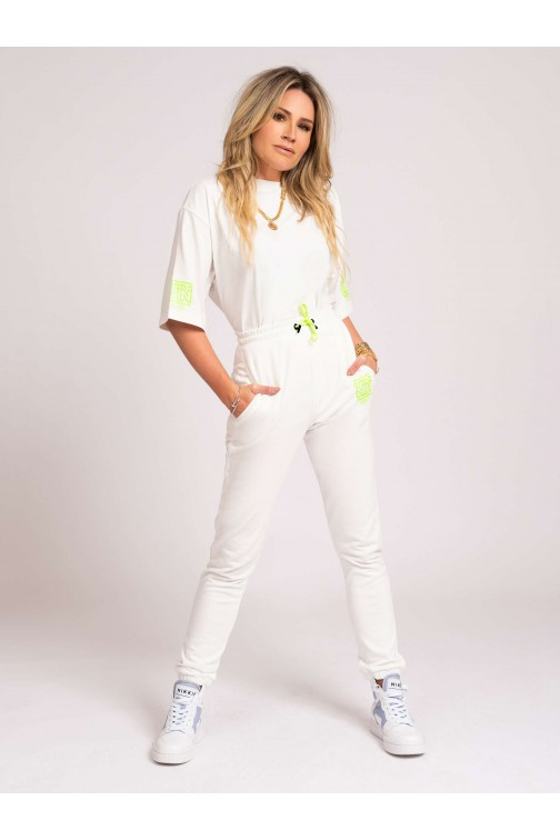Nikkie One oversized t-shirt White-lime