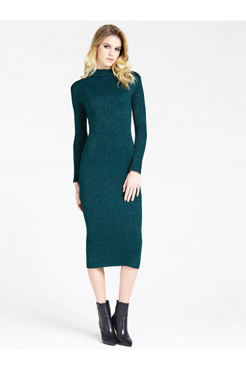 Guess midi dress met col in groen glitter