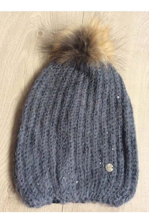 Liu Jo muts met 2 fur pompons in black