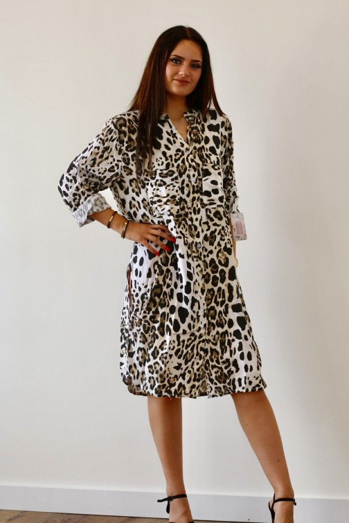Leopard blouse jurk in wit
