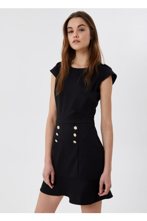 LiuJo black dress with gold buttons