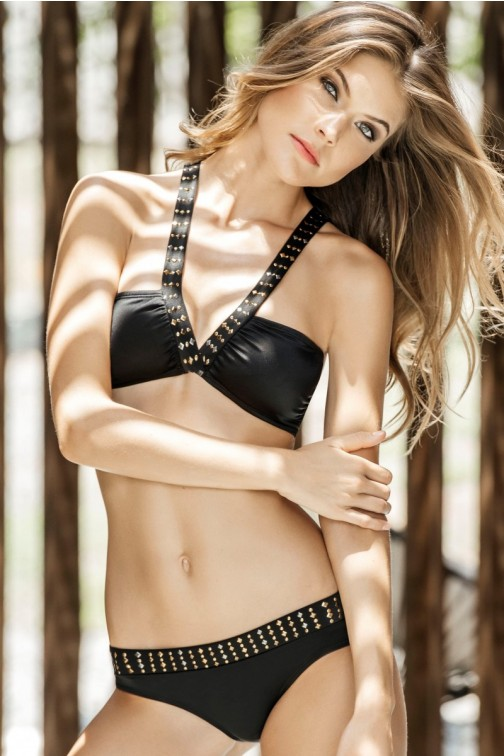 Kiby halter bikini studded in black