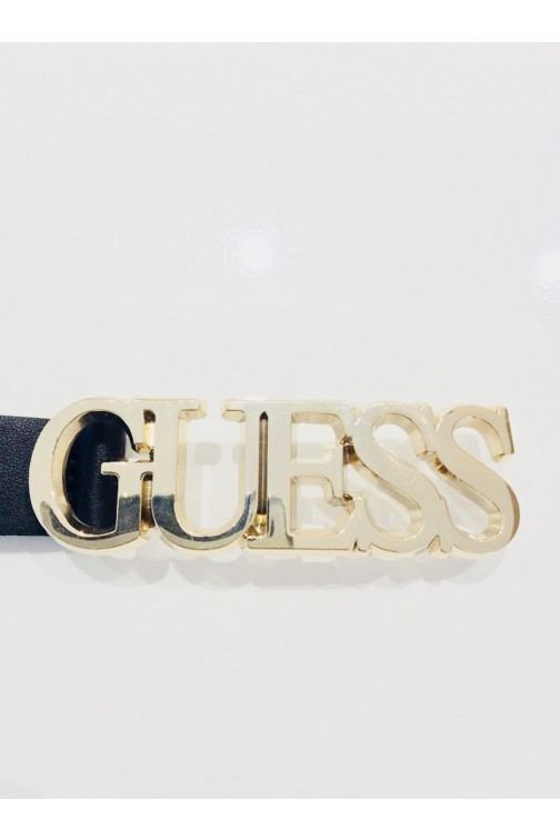 Guess smal riempje in zwart GUESS logo in gold