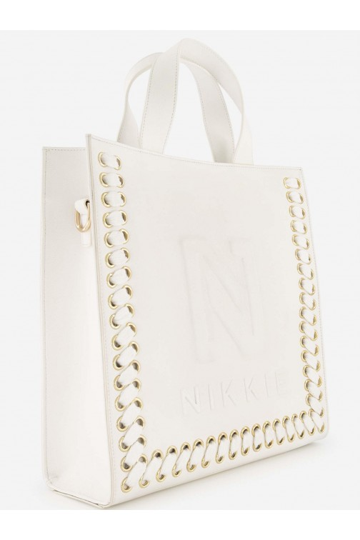 Nikkie Mae shopper in cream - N logo