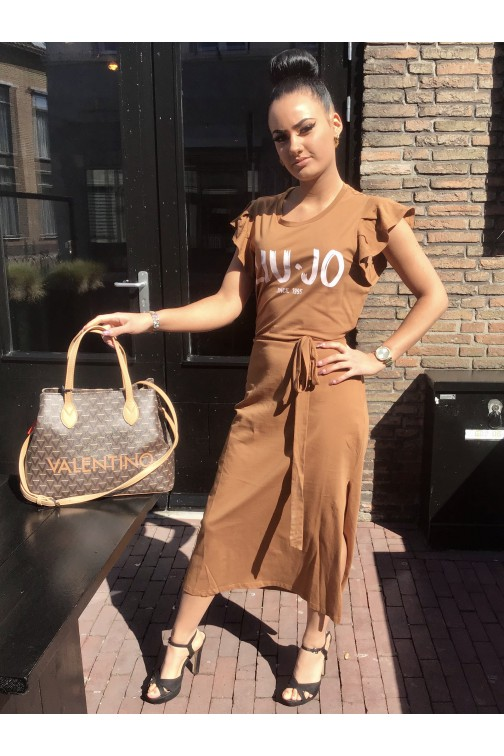 Liu Jo midi dress in caramel met print