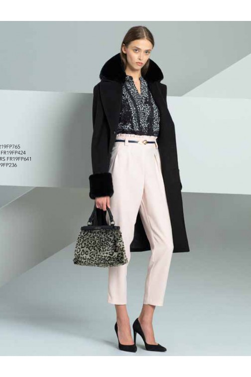 Fracomina coat in black with fur