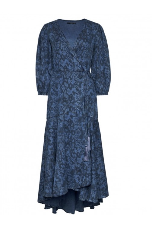 Guess snakeprint wrap dress in denim