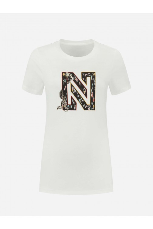 Nikkie Ikat N logo t-shirt in wit