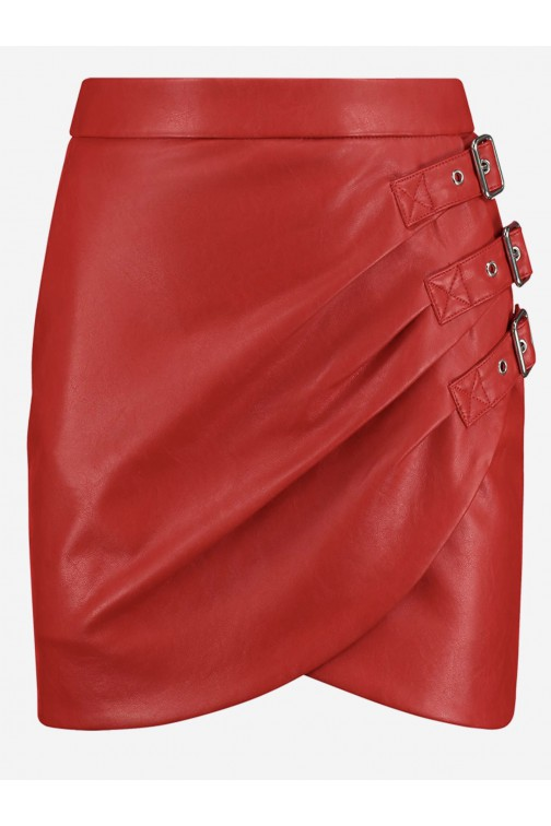 Nikkie Ellis skirt in rood vegan leer