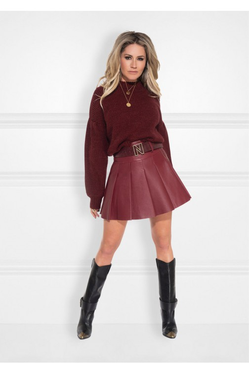 Nikkie Mila skirt in cinnamon leather