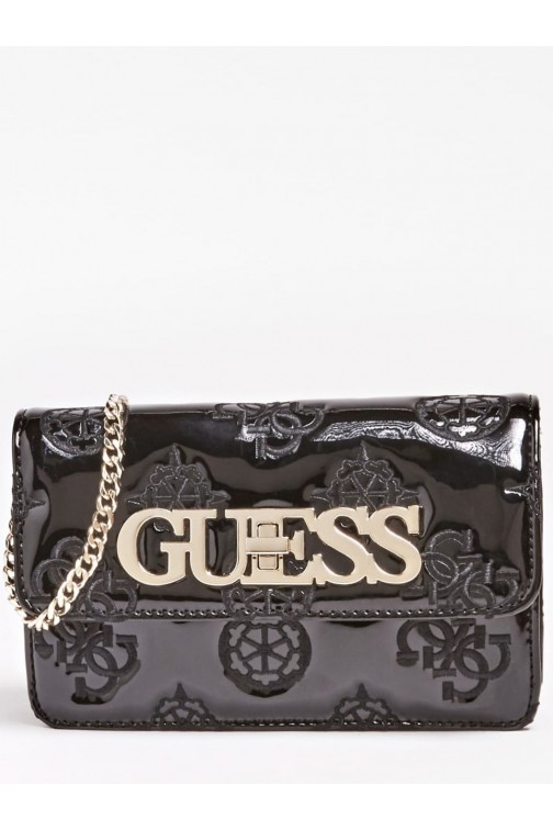 Guess Chic shoulder bag in black lacquer