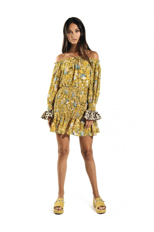 Jacky Luxury off shoulder dress in yellow print