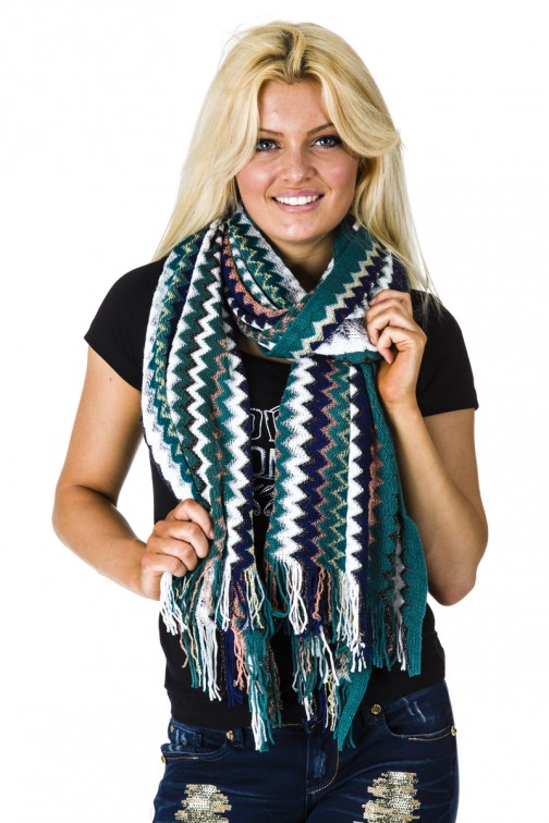 Poncho sjaal in zigzagprint green -petrol.
