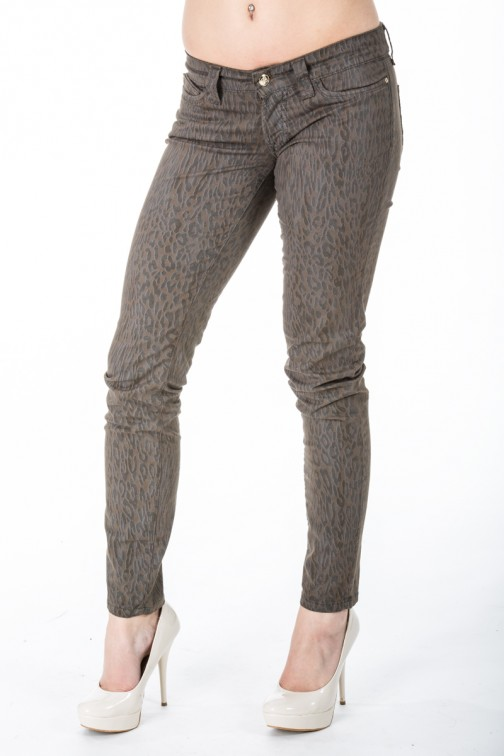 SOS jeans in taupe met animalprint.