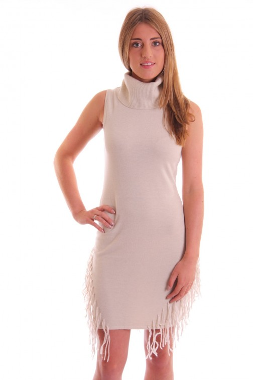 Fracomina sleeveless dress in ivory