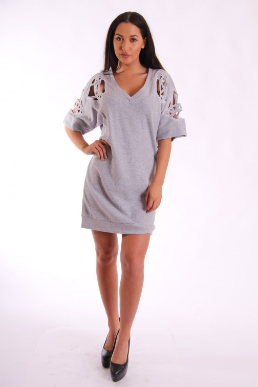 Supertrash Daffic sweaterdress - opengewerkt