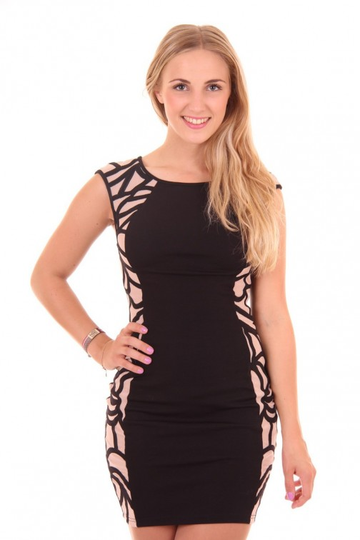 Lipsy London dress in black and creme; Cornelli