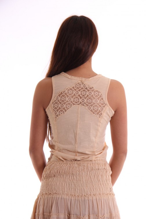 Isla Ibiza top with lace in champagne