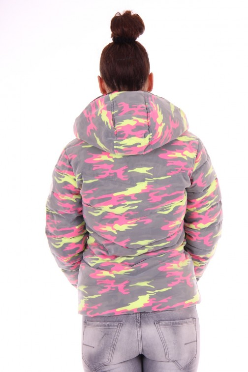 Nickelson Ono jacket in camo fluo pink